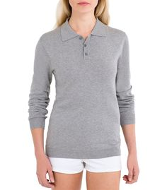 Womens Silk and Cotton Collared Jumper