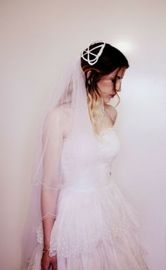 Cage Headpiece 50s Wedding Veil White Bride Satin Tulle Scalloped embroidery 50s Wedding, Wedding Veil, Satin Tulle, Vintage Hats, Headpiece, Cage, Embroidery, Bride, Skirts