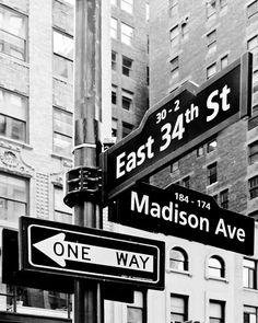 Madison Avenue, New York City Street Sign Print, black and white NY wall decor, 8x10