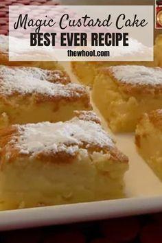 Just Desserts, Delicious Desserts, Yummy Food, Baking Recipes, Cake Recipes, Dessert Recipes, Magic Custard Cake, Menu, How Sweet Eats