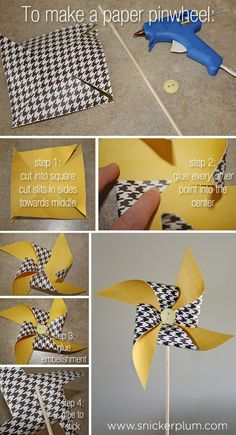Easy DIY Paper Pinwheels to hang in play room! Cute Crafts, Craft Projects, Crafts For Kids, Diy Paper, Paper Crafts, Origami Paper, Diy Pinwheel, Diy Party Decorations, Paper Pinwheels