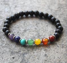 Ebony and multicolor gemstones chakra mala bracelet by lovepray, $24.00