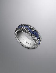 David Yurman Waves Band ring for men: sapphires, silver