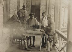 "Fort Leavenworth KS Soldier's Barracks (Porch) ""Cheating at Cards"" 1912"