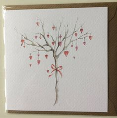Love Tree Embellished Card taken from an Original Watercolour