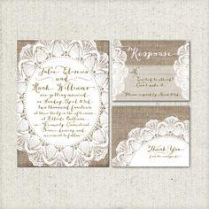 Wedding Invitation Suite Set - Printable, Custom, DIY - RUSTIC, VINTAGE, Burlap, Lace, Digital, Personalized, Shabby (Wedding Design #12)