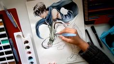 old Levi drawing with Gansei water color