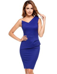 Blue Sleeveless Solid One Shoulder Pencil Dress