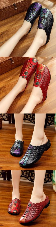US$29.73 Woven Hollow Out Backless Leather Soft Vintage Flat Sandals