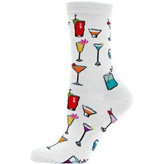 Hot Sox Tropical Drinks Printed Trouser Socks (21 BRL) ❤ liked on Polyvore featuring intimates, hosiery, socks, white, multicolor socks, patterned trouser socks, hot sox, multi color socks and patterned hosiery