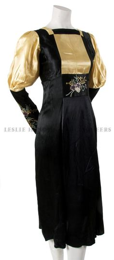 1912 French Black and Gold Satin Hand Embroidered Dress. ( while the source states 1912 this reminds me of some 30's dresses I've seen especially w/ the length although it could have been shortened later...)