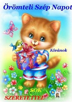 Artwork for postcard, Cute Animals Images, Cute Images, Animals And Pets, Animal Pictures, Cute Pictures, Kitten Cartoon, Kitten Images, Cute Clipart, Cat Cards