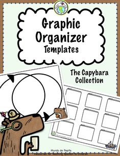 This set of 8 graphic organizer templates featuring capybaras can be customized over & over again for new content! Perfect for any language and level, included are Venn diagram, choice board template, compare/contrast, t chart, & more! Mundo de Pepita, Resources for Teaching Languages to Children #graphicorganizers #capybaras #languageinstruction #remotelearning