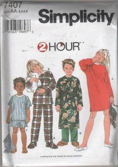 7407 Sewing Pattern Kids 2 Hour Pajamas Nightshirt Robe 3 4 5 6