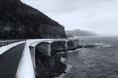Sea cliff bridge on the Illawarra coast. Sea Cliff Bridge, Black White Photos, Black And White, Coast, Landscape, Amazing, Blanco Y Negro, Black White, Black N White
