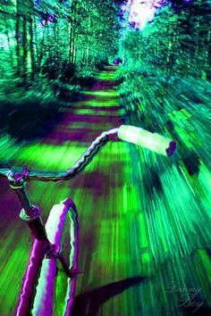 #Trippy art ✺ A trip through the trees on my bicycle please! ✺ #Purple&Green