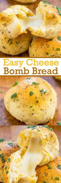Food design Cooking - [ad Easy Cheese Bomb Bread Soft, buttery bread brushed with garlic butter and stuffed with CHEESE! So good, mindlessly easy, goofproof, and ready in 10 minutes! A hit with everyone! I Love Food, Good Food, Yummy Food, Cheese Bombs, Easy Cheese, Baked Cheese, Snacks Für Party, Bagels, Scones