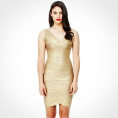 Gold Dress - Campaign Gold V Neck Fitted Silhouette
