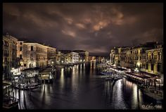 Venice Grand Canal nightime HDR photo.