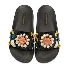 Dolce & Gabbana - Black Flower Slide Sandals