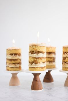 Momofuku apple pie cake - as a mini! Brown butter cake, caramel cake soak, cheesecake filling, pie crumb, apple pie filling. Perfection in your own wee mini.