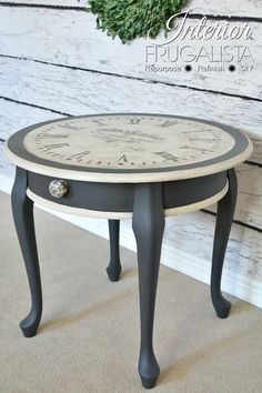 Vintage Furniture The Interior Frugalista - striking clock styled side table. with paint! So pretty! - A Queen Anne table gets an Old World Clock Face makeover with black chalk paint after two previous failed makeover attempts. Refurbished Furniture, Paint Furniture, Repurposed Furniture, Shabby Chic Furniture, Furniture Makeover, Vintage Furniture, Desk Makeover, Face Makeover, Bedroom Furniture