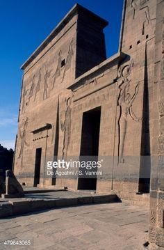 Entrance to First Pylon, Temple of Isis at Philae (Unesco World Heritage List, 1979), Agilkia Island, Aswan, Egypt, Egyptian civilization