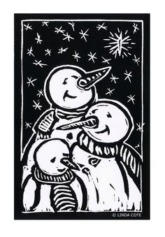 We Three Kings Hand Pulled Lino Relief by LindaCoteStudio on Etsy