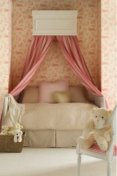 Maybe wall paper an accent wall where the crib will go. It would be cute to make a drapery treatment like this, and can take down as child grows out of it.