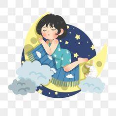 Moon Cartoon, Good Night World, Yellow Moon, Girl Sleeping, Girl Clipart, Star Art, Stars At Night, Color Vector, Disney Drawings