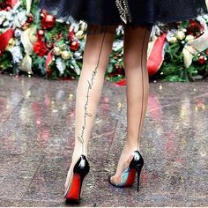Black dress, shoes with awesome tights - LadyStyle Hot High Heels, High Heel Pumps, Pumps Heels, Stiletto Heels, Black Dress Shoes, On Shoes, Red Sole Heels, Christian Louboutin, Fashion Addict