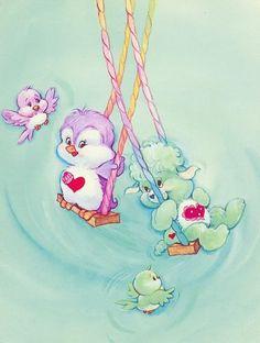 Care Bear Cousins: Cozy Heart Penguin + Gentle Heart Lamb on Swings Vintage Cartoon, Vintage Toys, Care Bear Tattoos, Care Bears Vintage, Cartoon Tattoos, Rainbow Brite, Illustration, Bear Art, Retro