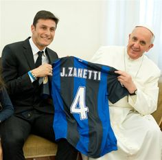 Pope Francis receives a shirt from Inter Milan and Argentina legend Javier Zanetti (now age 40 and still playing for Inter).