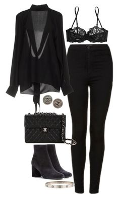 """""""Untitled #2773"""" by hiitsbre ❤ liked on Polyvore featuring Topshop, La Perla, Maison Margiela, Chanel and Yves Saint Laurent"""