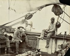 Vintage photo of 'The Sea Crew' with a wealth of rigging details.