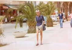 samuel beckett     photographer François-Marie Banier was on vacation in Tangier in 1978 & spotted Beckett, the great dramatic poet of angst & stasis, walking along in shorts & sandals, carrying a shoulder bag & heading for the beach.