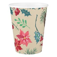 Traditional Botanical Christmas (beige) Paper Cup - rustic gifts ideas customize personalize
