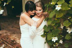 Same sex engagement portraits // Naples Florida // White Flowers