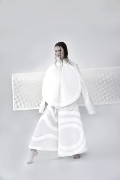 Fashion as Art - 3D shapes & sculptural silhouette - white on white maxi coat, experimental fashion design // Matthew Dyer