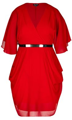 City Chic - COLOUR WRAP DRESS - Women's Plus Size Fashion