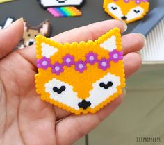 Fox pin Pixel art Kawaii brooch perler beads 8 bit cute pin wreath flowers by PXLprincess on Etsy Easy Perler Bead Patterns, Melty Bead Patterns, Perler Bead Templates, Diy Perler Beads, Perler Bead Art, Hama Beads Kawaii, Pearler Beads, Hama Beads Coasters, Melty Bead Designs