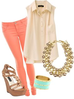 Wedges, straight leg coral pants and a free flowing shirt with great accessories