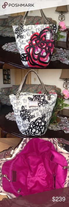 """Rare Coach Poppy Bella Floral Graffiti Bella Tote style: 14735,  color:white/gray/pink/silver                                               Floral graffiti print fabric with silver metallic leather trim 3 graphics, hangtags  Large Puffy Loop Ball  Dog-leash closure Fully fabric lined  Interior Back wall zip compartment  Interior Front Wall two Open Pockets  Double Metallic Handles with 8"""" Drop Feedbag Open style with Dogleash Clip Closure ,measures: 19 (L) x 14 1/2 (H) x 7 1/4 (W), in great…"""