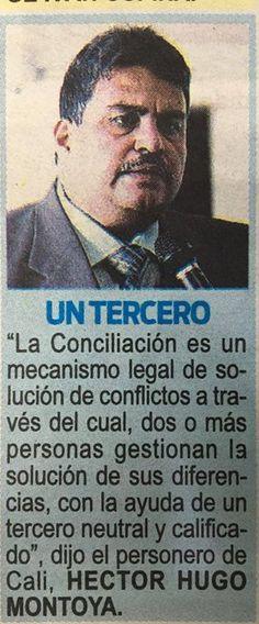 """Vía Diario Extra Cali  """"La conciliación como mecanismo legal de resolución de conflictos"""" Héctor Hugo Montoya Personero Cali"""