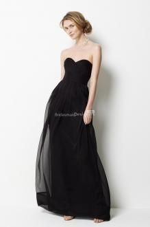 Elegant Chiffon Strapless Black Long Floor Length Bridesmaid Dress with Sweetheart Neckline