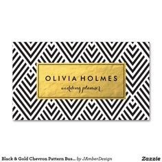 Black & Gold Chevron Pattern Business Card                              …