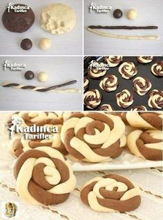 Wind Rose Cookies Recipe, How To? Rose Cookies, Cookies Et Biscuits, Baking Recipes, Cookie Recipes, Dessert Recipes, Food Decoration, Turkish Recipes, Yummy Cookies, Christmas Desserts