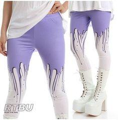 Pastel Purple Melting Glue Drip Plastic Wax Street Punk Rock Creepy Legging