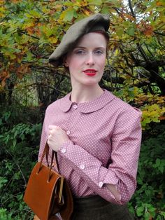 Peter Pan collar cotton blouse, available in many colours and prints by Vintage inspired by Beatrice Winter