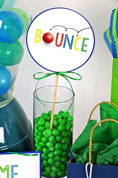 """Bounce on in and have a ball! These """"Let's Have A Ball"""" Party Decorations are so easy and cute for your ball themed celebration! Birthday Photo Banner, First Birthday Photos, Happy Birthday Banners, First Birthday Parties, Unique Party Themes, Bounce House Parties, Carousel Party, Peach Party, How To Make Banners"""